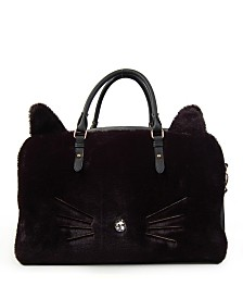 OMG! Accessories Kitty Faux Fur Duffle Bag