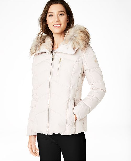 Calvin Klein Petite Faux-Fur-Trim Hooded Down Puffer Coat, Created for Macy's