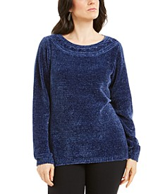 Boat-Neck Chenille Sweater, Created for Macy's