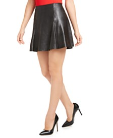 SPANX Faux-Leather Skater Skirt