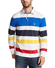 Men's Blue Sail Striped Long Sleeve Rugby Polo Shirt, Created for Macy's