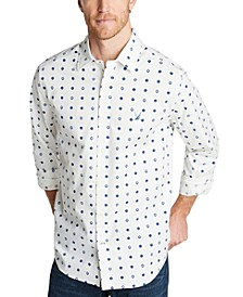 Men's Classic-Fit Blue Sail Casual Print Shirt, Created for Macy's