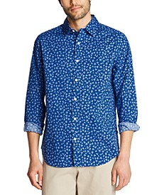 Men's Blue Sail Classic-Fit Stretch Floral-Print Poplin Shirt, Created for Macy's