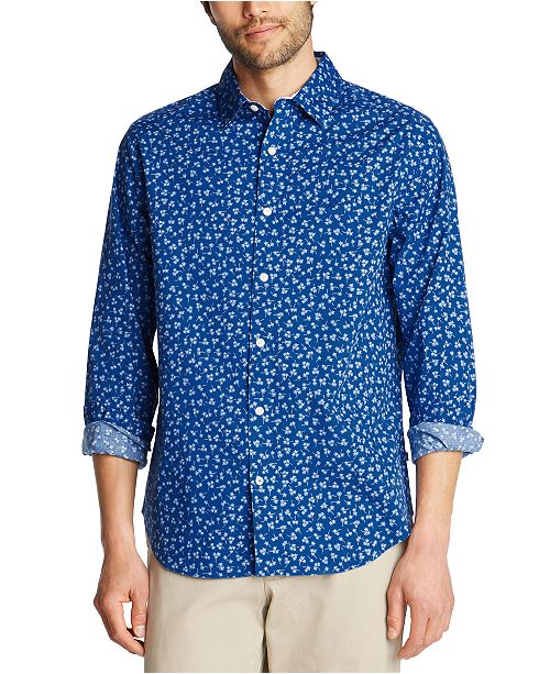 Nautica Men's Blue Sail Classic-Fit Stretch Floral-Print Poplin Shirt, Created for Macy's