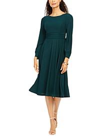 Long-Sleeve Pleated Midi Dress