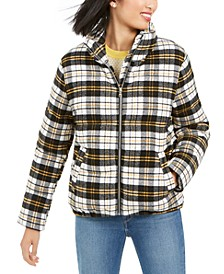 Cropped Plaid Puffer Coat
