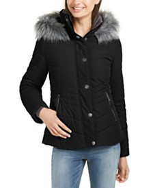 Maralyn & Me Juniors' Faux-Fur Trim Hooded Puffer Coat