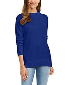 Rolled Mock-Neck Cotton Sweater, Created For Macy's