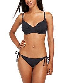 Juniors' Beach Classics Underwire Bikini Top & Side-Tie Bikini Bottoms