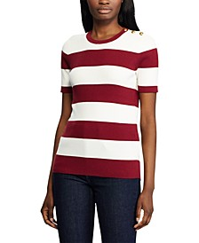 Stripe-Print Button-Trim Short-Sleeve Sweater