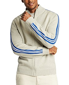 Men's Blue Sail Full-Zip Racing Stripe Sweater, Created for Macy's