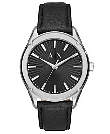 A|X Armani Exchange Men's Fitz Black Leather Strap Watch 44mm