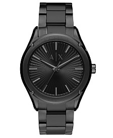 A|X Armani Exchange Men's Fitz Black Stainless Steel Bracelet Watch 44mm