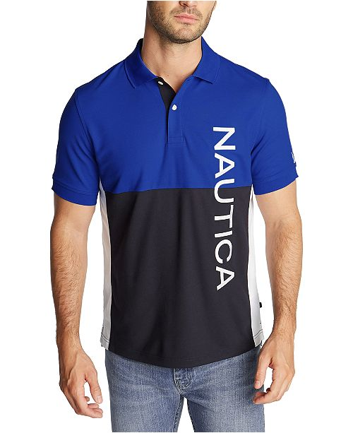Nautica Men's Blue Sail Classic-Fit Colorblock Logo Polo Shirt, Created for Macy's