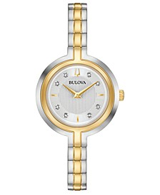 Women's Rhapsody Diamond-Accent Two-Tone Stainless Steel Bracelet Watch 30mm