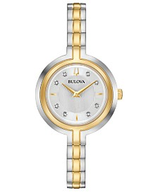 Bulova Women's Rhapsody Diamond-Accent Two-Tone Stainless Steel Bracelet Watch 30mm