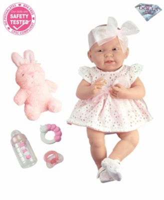 "La Newborn 15"" Real Girl Baby Doll White Eyelet Dress"