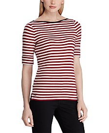 Lauren Ralph Lauren Stripe-Print Boatneck Stretch Top