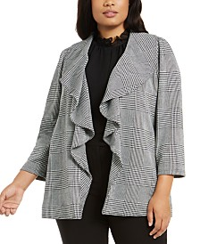 Calvin Klein Plus Size Open-Front Plaid Blazer