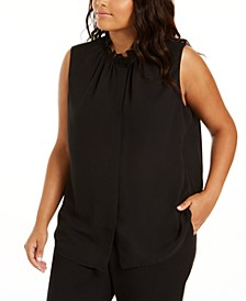 Plus Size Sleeveless Ruffle-Neck Blouse