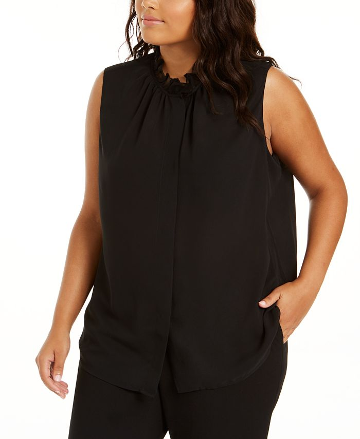 Calvin Klein - Plus Size Sleeveless Ruffle-Neck Blouse