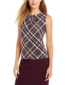 Calvin Klein Plaid Pleated-Neck Top