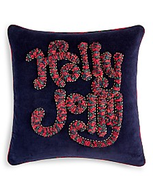 """Martha Stewart Collection Holly Jolly 18"""" x 18"""" Decorative Pillow, Created for Macy's"""