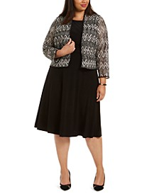 Plus Size Midi Dress & Chevron Lace Jacket