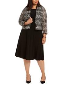 Jessica Howard Plus Size Midi Dress & Chevron Lace Jacket