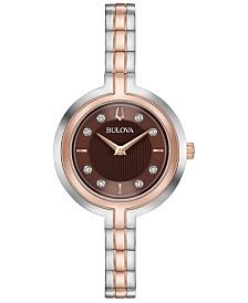 Bulova Women's Rhapsody Diamond-Accent Two-Tone Stainless Steel Bracelet Watch 30mm