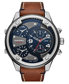 Men's Boltdown Brown Leather Strap Watch 56mm