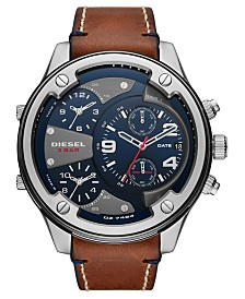 Diesel Men's Boltdown Brown Leather Strap Watch 56mm