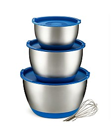 Bezrat Set of 3 Stainless Steel Mixing Bowls with Silicone Lids