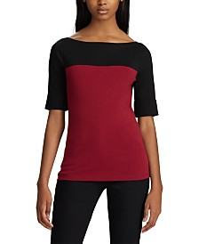 Lauren Ralph Lauren Colorblock Boatneck Top