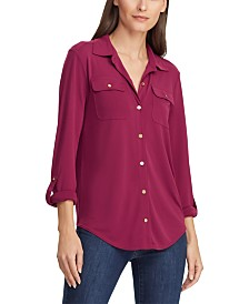 Lauren Ralph Lauren Roll-Tab-Sleeve Button-Front Shirt