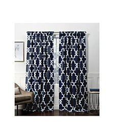 Exclusive Home Curtains Ironwork Sateen Woven Blackout Pinch Pleat Curtain Panel Pair