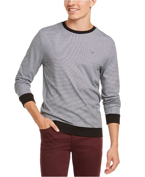 Calvin Klein Men's Feeder Stripe Long Sleeve T-Shirt