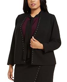Calvin Klein Plus Size Studded-Trim Open-Front Blazer