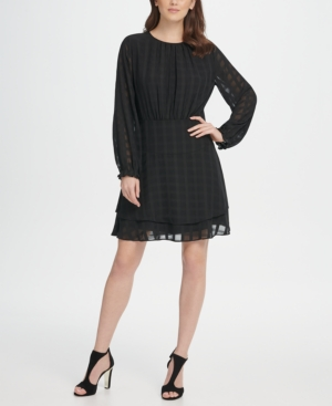 Dkny Dresses LONG SLEEVE DOUBLE LAYER SKIRT CHECK GEORGETTE DRESS