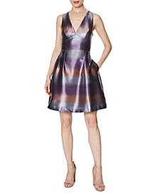 Striped Metallic Fit & Flare Dress