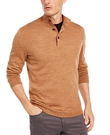 Men's Solid Merino Wool Blend Mock-Collar Sweater, Created for Macy's