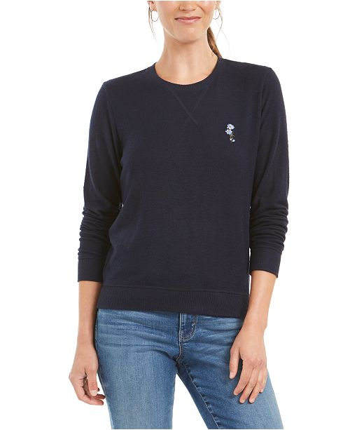 Lucky Brand Floral-Embroidered Sweatshirt