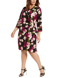 Calvin Klein Floral-Print Faux-Wrap Dress