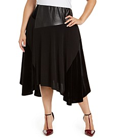 Plus Size Velvet Faux-Leather Skirt