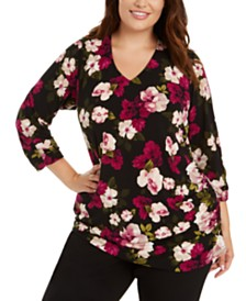 Calvin Klein Plus Size Floral-Print Ruched-Side Top