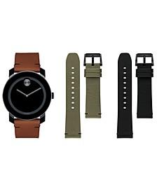 Men's Swiss Bold Cognac Colorado Leather Strap Watch Gift Set