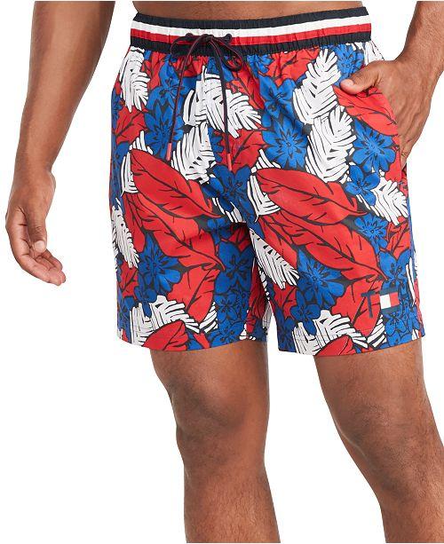 "Tommy Hilfiger Men's Elijah Leaf Print 5"" Swim Trunks, Created for Macy's"