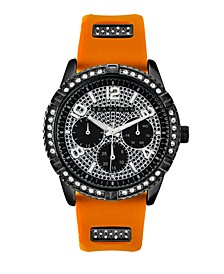 Men's Dress Sport 3 Hands Orange Silicon Strap Watch 46mm