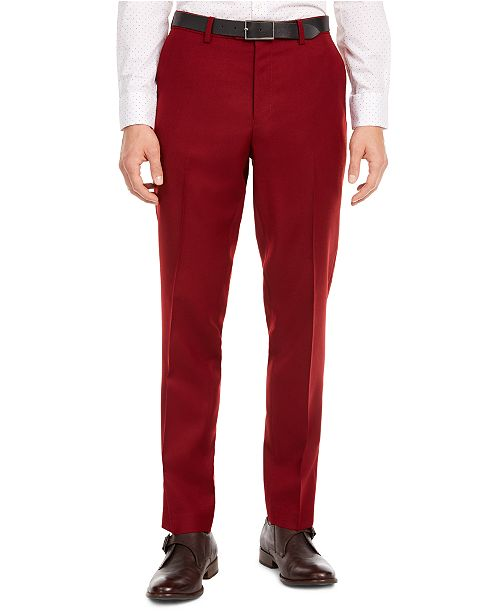 Bar III Men's Slim-Fit Red Flannel Suit Separate Pants, Created for Macy's