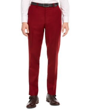 60s – 70s Mens Bell Bottom Jeans, Flares, Disco Pants Bar Iii Mens Slim-Fit Red Flannel Suit Separate Pants Created for Macys $19.99 AT vintagedancer.com